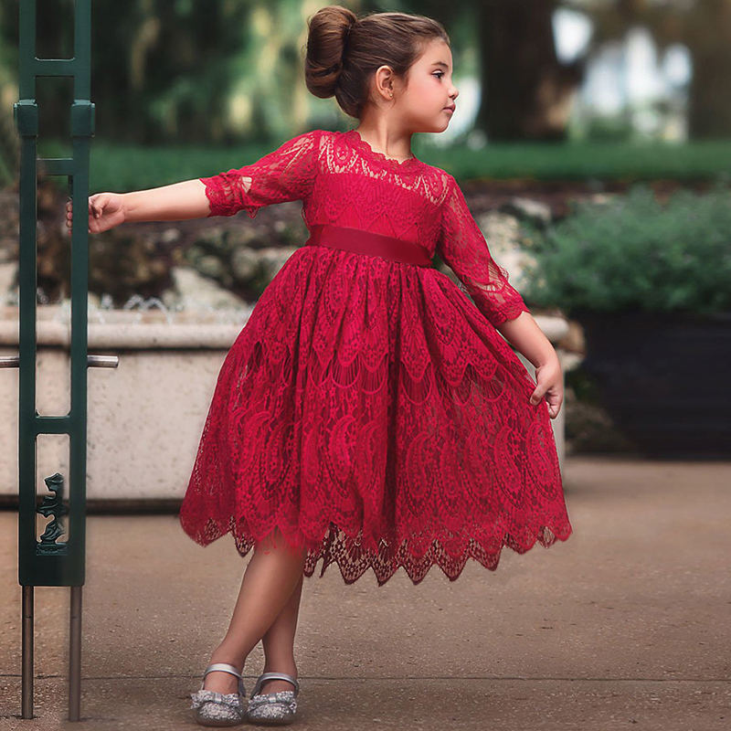 Girls Kids Floral Lace Princess Dress Little Girl Red Christmas Costume Children Wedding Party Clothing Long Sleeve Tutu Dress red baby girl dress princess christmas dresses for girl events party wear tutu kids carnival costume girls children clothing