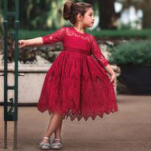 44f286b9d Niñas niños vestido de princesa de encaje Floral niña roja Navidad disfraz  niños boda fiesta ropa de manga larga vestido tutú