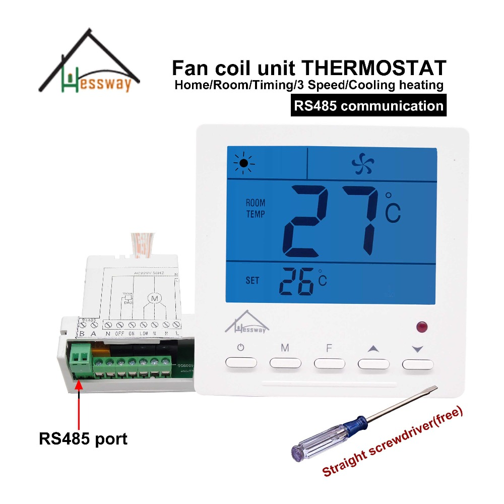 HESSWAY central air-conditioning modbus RTU RS485 THERMOSTAT control switch for Business building management air conditioning