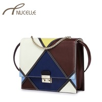 Nucelle Women Genuine Leather Messenger Bag Female Cowhide Lines Patchwork Preppy Style Vintage Colorant Match Envelope