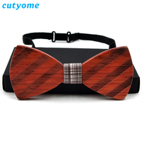 Cutyome Novelty Wooden Bowties for Men's Wedding Environment Friendly Wood Butterfly Neckwear Bow Tie Adjustable Gravata Corbata