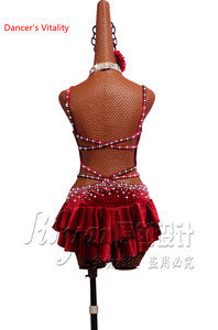 Image 4 - Latin Dance Performance Costumes Competition Clothing Women Girls Salsa Dance Jumpsuits Sexy Backless Bandage Dress Dancewear