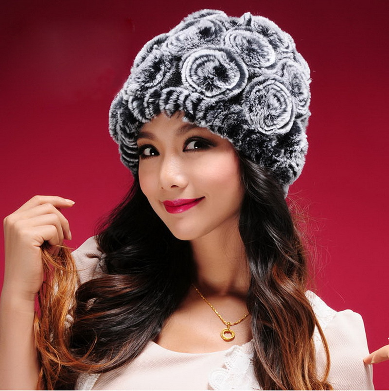 Women Genuine Rabbit Fur Hat  For Winter,Wholesale Price Rose Flower Warm Lady Fur Hats