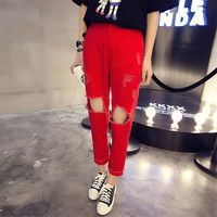 Ripped Jeans For Women Vintage High Waist Red White Cuffs Hole Denim Pants Ankle Length Pants