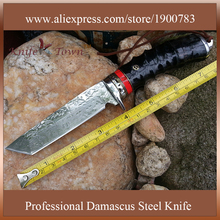DT031 Straight Handmade forged Damascus Steel hunting knife fixed blade knife 58HRC natural sheep horn handle multi tool
