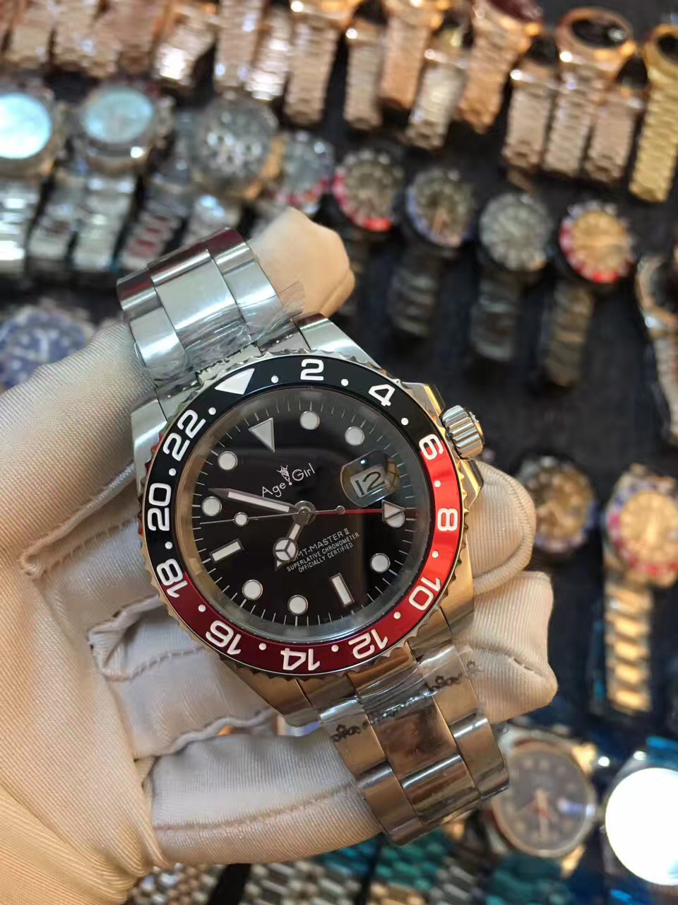 Luxury Brand New Men Automatic Mechanical Watches Full Black Blue Ceramic Bezel Red GMT Stainless Steel Sapphire Master II AAA+