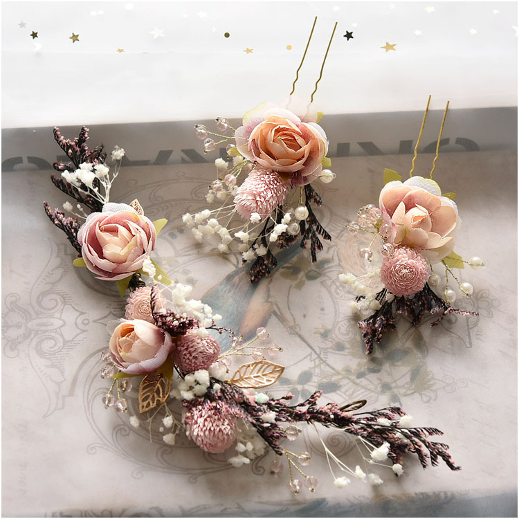 Bride Mori Headdress Dry Lace princess flower Hair Pinch Set Korean bridal Wedding hair Jewelry 2