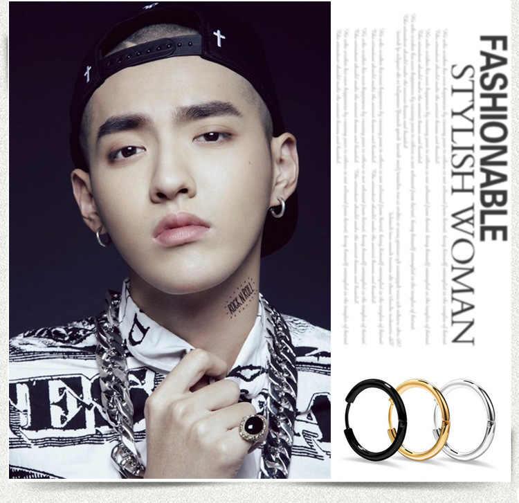 1 Piece Korean Popular Lovers Circle Ear Round Hoop Earrings For Women And Men Hip Hop Earrings Fashion Jewelry Oorbellen Brinco