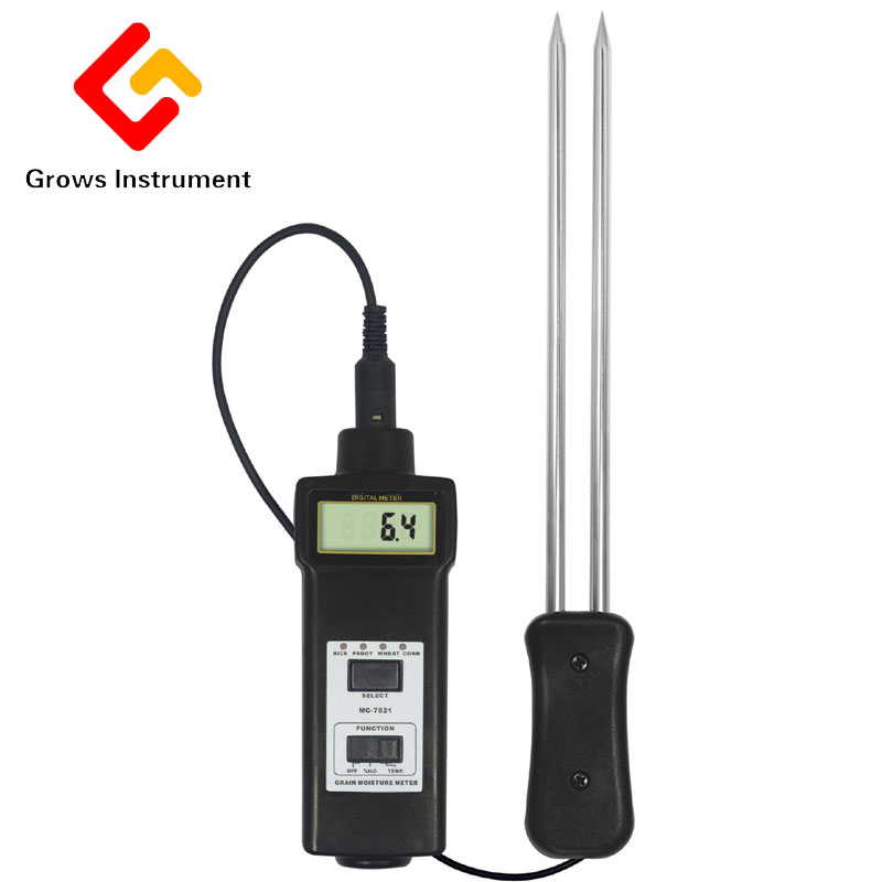 MC-7821 Grain Moisture Meter Tester Range 8~20% Moisture Temperature Meter LCD Digital Can Measure for Hay Oat Wheat mc 7806 digital moisture analyzer price pin type moisture meter for tobacco cotton paper building soil