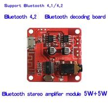 DC 3.7 5 V Bluetooth 4.2 Ses Alıcı 5 w + 5 w Stereo güç amplifikatörü Kurulu küçük stereo amp