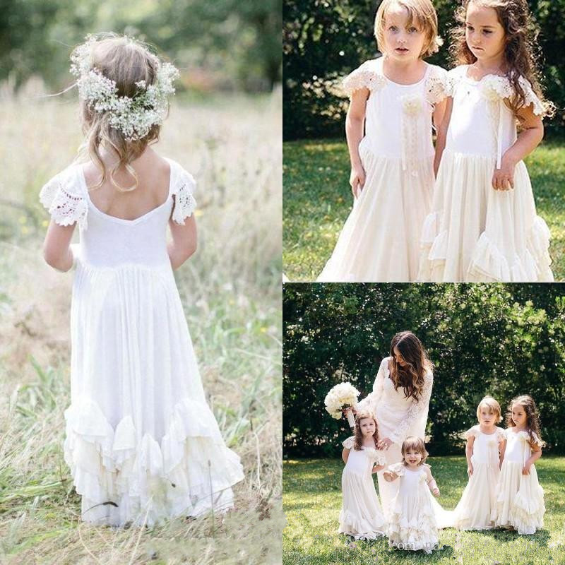 2019 Boho New Flower Girls Dresses White Lace Applique Jewel Neck Ruffled Little Princess Communion Dress Birthday Party Gown black casual round neck ruffled dress