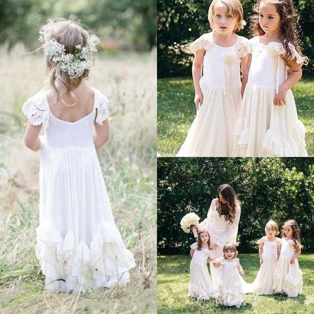 01cadd6e163ab 2019 Boho nouvelle fleur filles robes blanc dentelle Applique bijou cou  ébouriffé petite princesse Communion robe