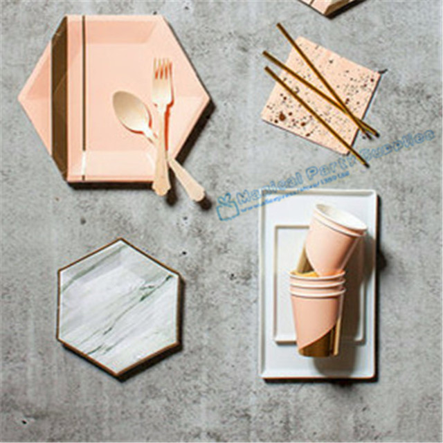 8 Sets Pink Gold Hexagon Large Party Plates Party Tableware Cups Napkins for Wedding Birthday Engagement & 8 Sets Pink Gold Hexagon Large Party Plates Party Tableware Cups ...