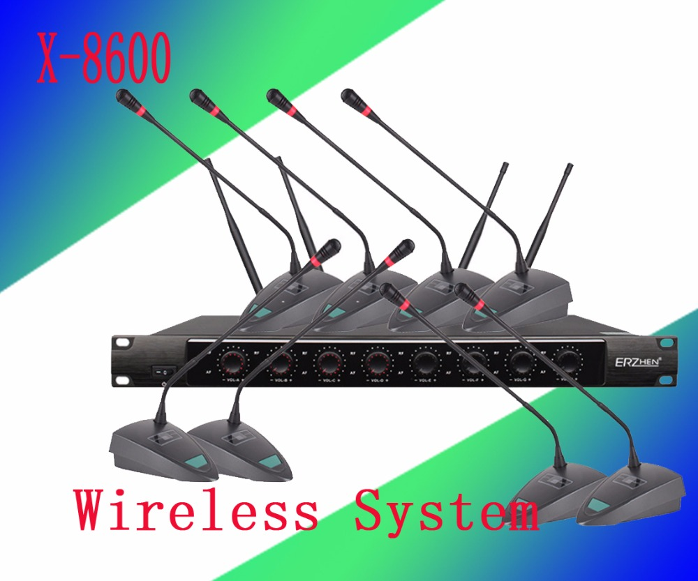 Wireless System X-8600 Pro Microphone 8 Channel VHF Professional 8 Gooseneck Microphone Stage Wireless Conference Microphone