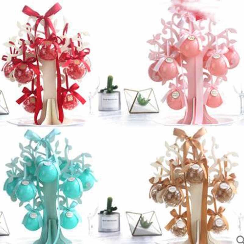 10 pièces boîte + arbre d'amour 8 sortes de couleur claire nouvelle boîte de mariage mignon boîte cadeau créatif boule style européen pour boîte à bonbons bowknot