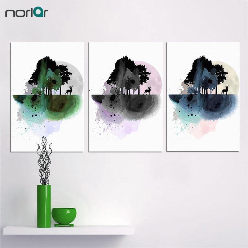 현대 스칸디나비아 미니멀 스타일 캔버스 그림 수채화 숲 엘크 벽 인쇄 침실 장식 프레임이없는
