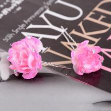 5pcs Small Rose Hair Pins Wedding Bridal Flowers Bridesmaid Accessory Exquisite Crystal Hairpins Wholesale Headwear Headpiece
