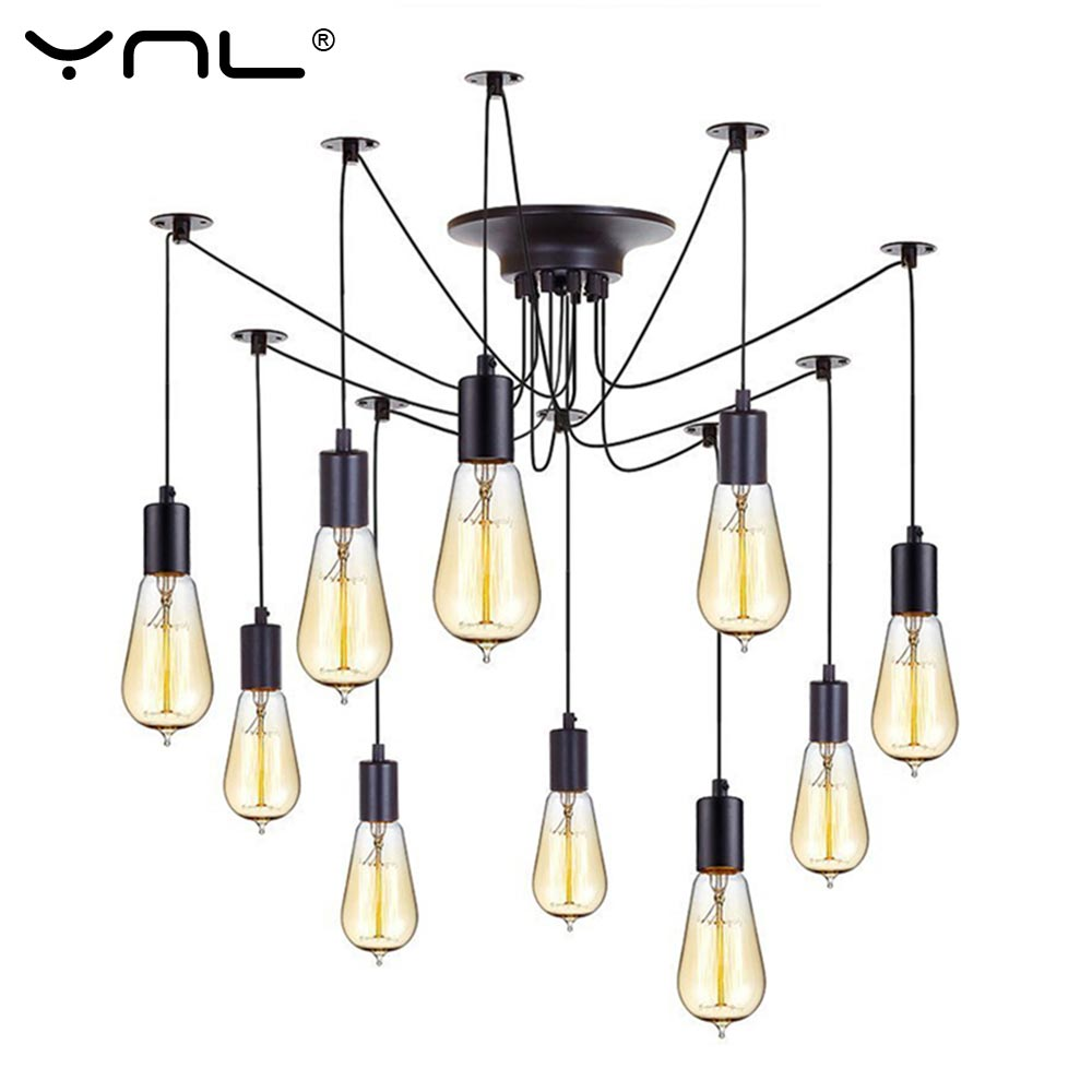 YNL Modern Nordic Retro Edison Bulb E27 2 meters Line Vintage lamps Antique DIY Art Spider Pendant Lights Home suspension diy vintage lamps antique art spider pendant lights modern retro e27 edison bulb 2 meters line home lighting suspension