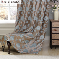 GIGIZAZA Floral Jacquard Modern Style Blinds Curtains For Living Room Silver Jacquard Curtains With Flowers Custom