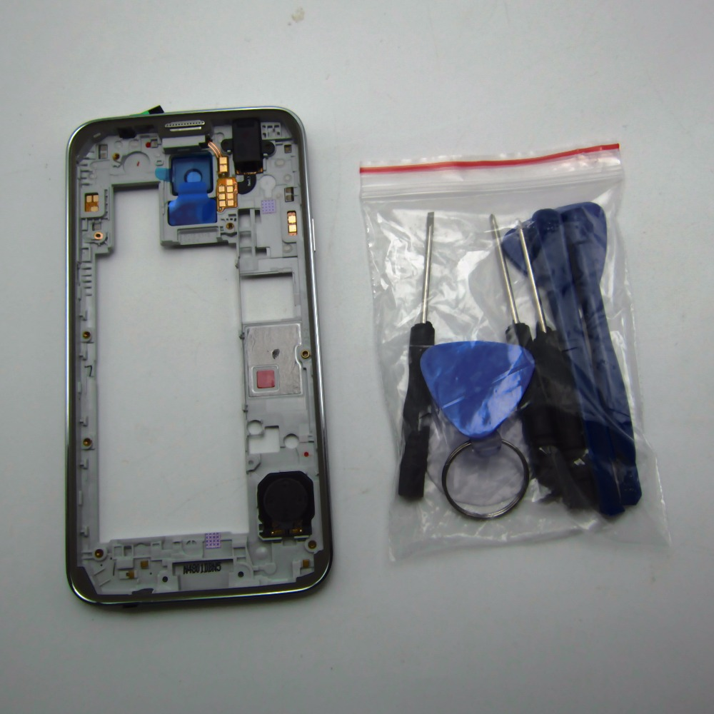 Panbon Replacement parts For Samsung Galaxy S5 G900FD dual Sim card Middle Housing Bezel Frame Sliver with tools