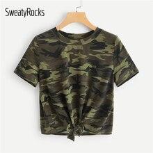 597c6af0540 SweatyRocks nudo en la parte delantera de camuflaje Camiseta estilo ejército  verde de moda 2019 camiseta de verano Casual de man.