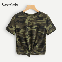SweatyRocks Knot Front Camouflage Tee Style Fashion T-shirt 2019 Summer Casual Short Sleeve Streetwear Women Tees And Tops цены