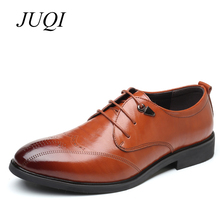 JUQI Men Brogue Shoes Split Leather Silp-On Luxury Brand Formal Business Oxfords Dress Big Size 38-48