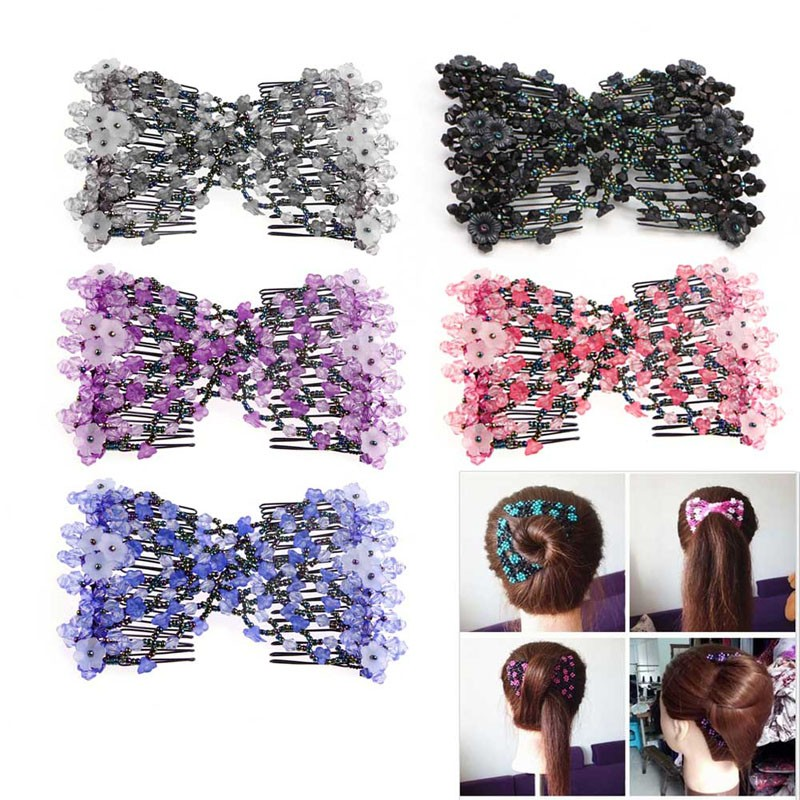 Women Trendy Multi-function Magic Beads Elasticity Double Hair Comb Clip Stretchy Hair Combs Clips Fashion magic hair 2015 gorra unprocesseds from16 18 20 22 24 magic 100