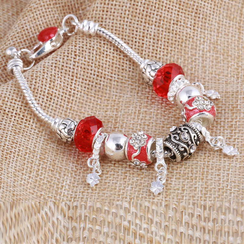 ZOSHI Pink Crystal Charm Silver Bracelets & Bangles for Women With Aliexpress Murano Beads Silver Bracelet Femme Jewelry 19