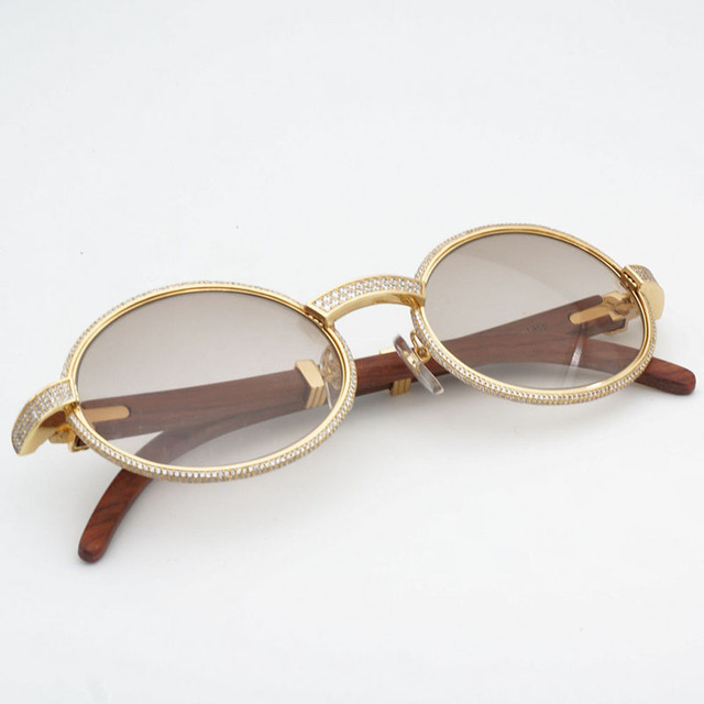 693592ea8c Diamond Sunglasses Metal Sunglasses Retro Wooden Shades Men Sun Glasses for  Fashion Round Men Stone Glasses Frame Luxury Eyewear