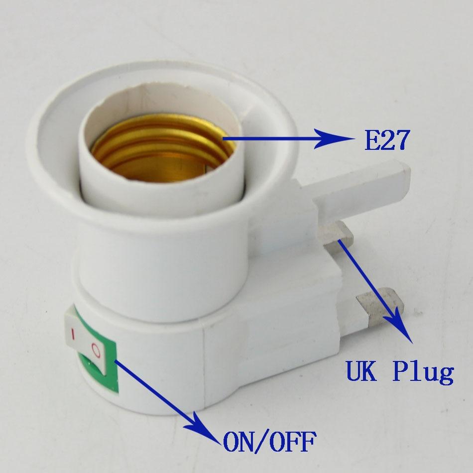E27 UK Plug Flexible Extend Extension LED Light Bulb Lamp Base Holder Screw Socket E27 ON/OFF Night Light