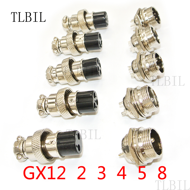 TLBIL 1Set GX12 2/3/4/5/6 Pin Male Female 12mm L88-93 Circular Aviation Socket Plug