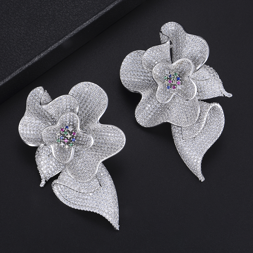 GODKI Luxury Big Flower Blossom Cubic Zirconia Drop Earrings for Women Fashion Engagement Party Jewelry pendientes