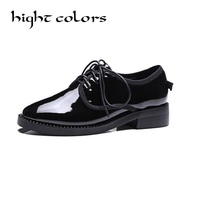 Fashion Japanned Leather Pointed Toe Flat Heel Single Shoes Zipper Bottom Spring Autumn Oxfords Shoes For
