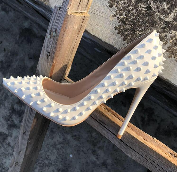 Sexy White Rivets High Heels Pumps 12cm Pointed Toe Customized Stiletto Heels Pumps Women Shoes Studded Heels Wedding Dress Shoe
