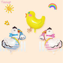 Taoup 1pc Cute Animals Balloons Foil Hen Bunny Egg Easter Happy Decoration Birthday Round Ballons Accessories