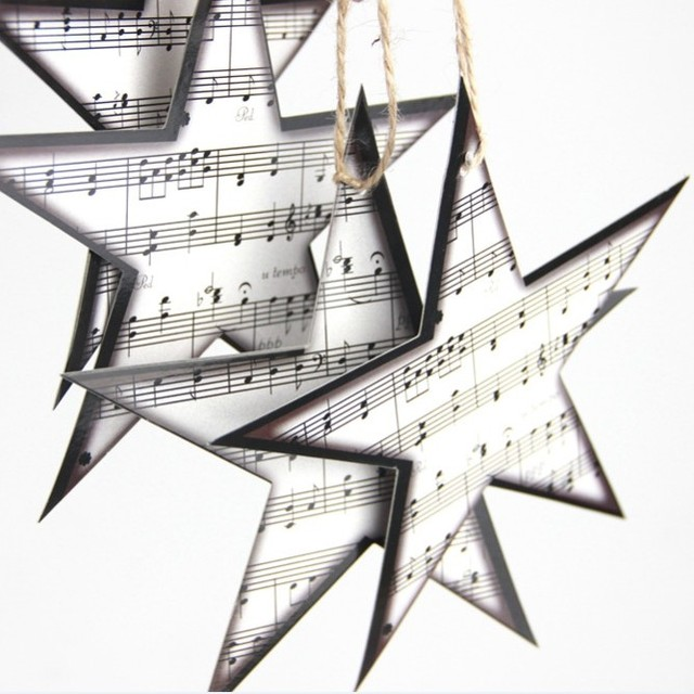 12pc Le Sheet Music Star Embellishments Garland Christmas Tree Ornaments Home Nursery Themed Decor
