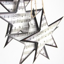 Paper Music Star Embellishments Garland Christmas Tree Ornaments Home Nursery Theme Decor