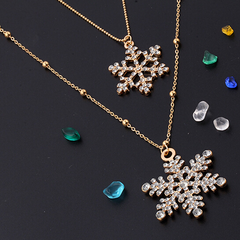 2017 Nice Womens Charmful Snowflake Sweater Double Chain Trendy Necklace & Pendant Christmas Present Gold Color Rhinestone