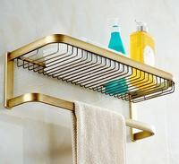 Top Quality Total Brass Antique Brass Bathroom Shelves With Towel Bar Basket Holder Bathroom Towel Holder
