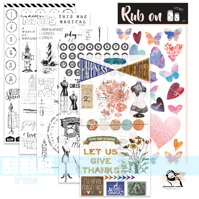 ZFPARTY  1Pcs New Rub On Stickers For Scrapbooking/ DIY Crafts/ Card Making /Journaling Project