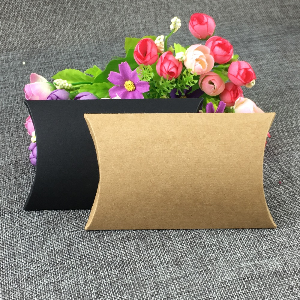 12pcs Four Size Blank Black Brown Kraft Paper Pillow Pouch Box For Pack Jewelry Trinket Doll Toys Gift Display Box Accept Custom