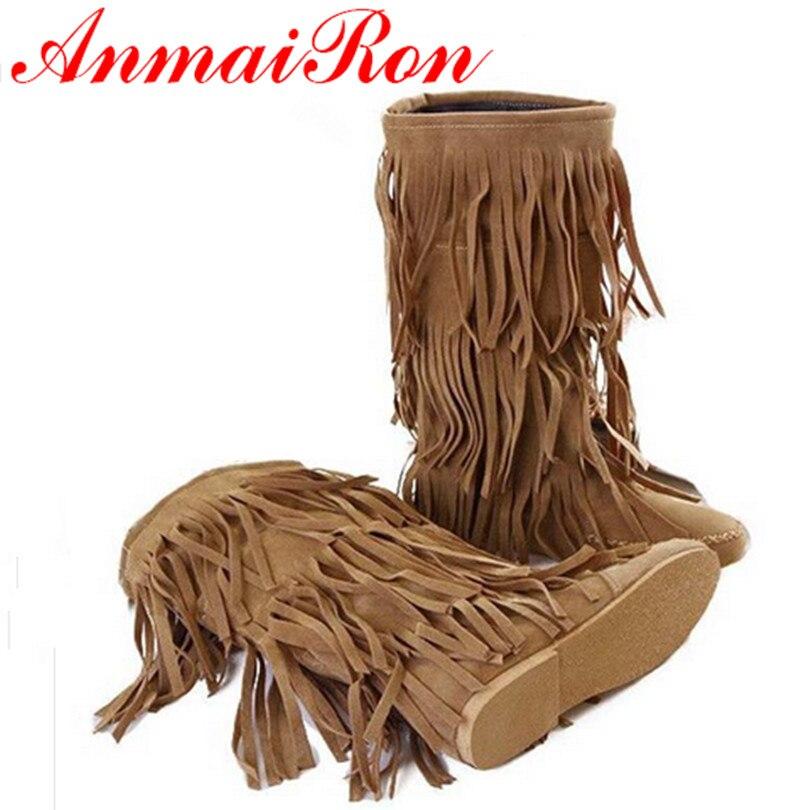 cca8a9f54 ANMAIRON nueva moda estilo mujeres primavera y otoño punta redonda MEDIADOS  DE-becerro botas mujeres 3 colores moda borla amarilla pisos mujeres botas