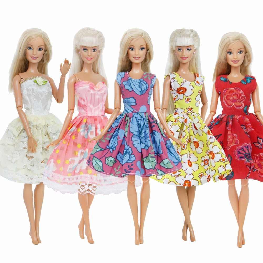 e88113f30adda16 5 комплектов Мода ручной работы кукла платье цветочный узор кружева  ежедневно знакомства сексуальная одежда юбка Короткое