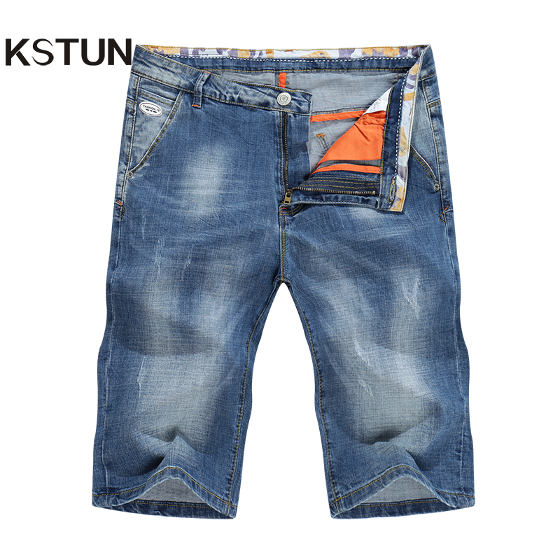 KSTUN Men's   Jeans   Shorts Slim Straight Light Blue Business Casual Stretch Knee Length Pants Denim Men Clothes 2018 Summer Short