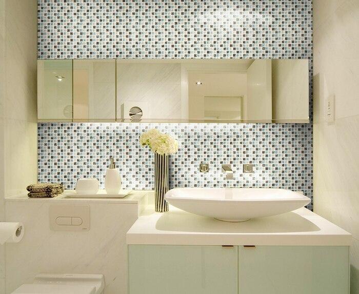 Mini quadrato marrone blue beige colore crakle mosaico di vetro