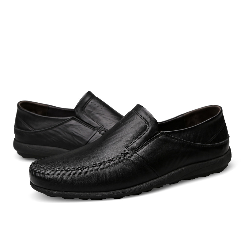Fashion Natural Leather Men Casual Shoes Light Breathable Flats Shoes Slip On Walking Driving Loafers Zapatos Hombre in Men 39 s Casual Shoes from Shoes