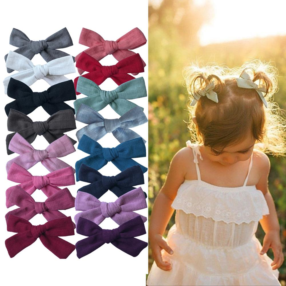 2 PCS Lovely Baby Girls 3-inch Cotton Fabric Bow Hairgrips Piggy Tail Hair Bow Clips Barrettes Headwear Hair Accessories