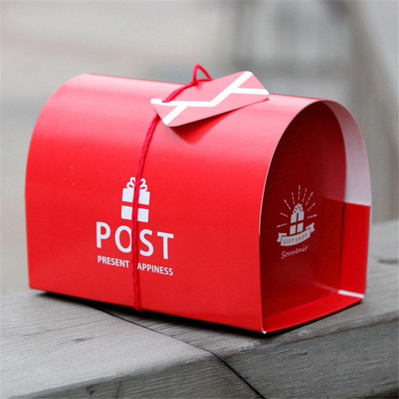 10pcs/lot Christmas Red Color Mail Post Storage Box Wedding Paper Mailbox Candy Box New  ...