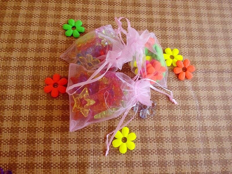 3bce0af57 200 unids 17*23 cm organza Rosa exhibición de la joyería del bolso del  regalo empaquetan la bolsa del lazo para las pulseras/Collar /wed mini  Hilado bolsa